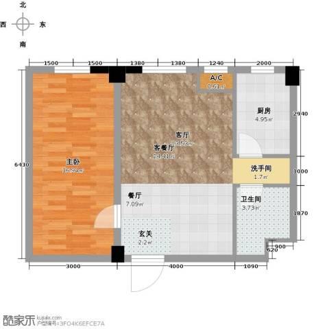 国民院子1室1厅1卫1厨76.00㎡户型图