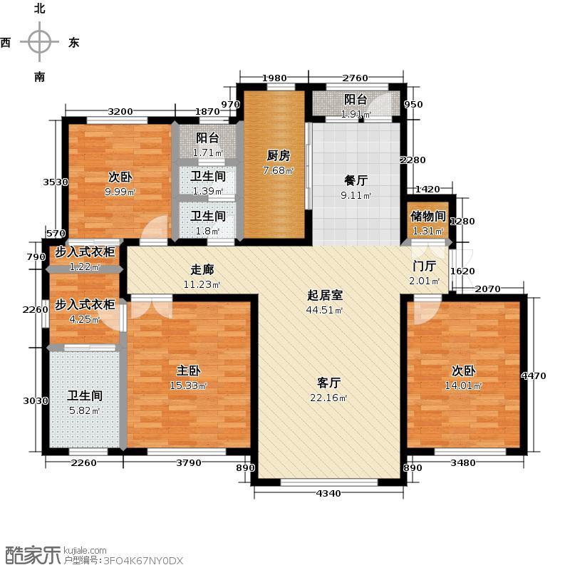 东港第160.00㎡A6标准层C户型3室2厅2卫1厨户型3室2厅2卫