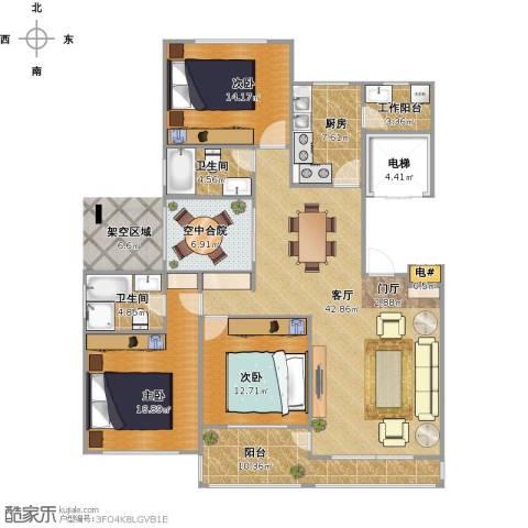 东城郡3室1厅2卫1厨174.00㎡户型图