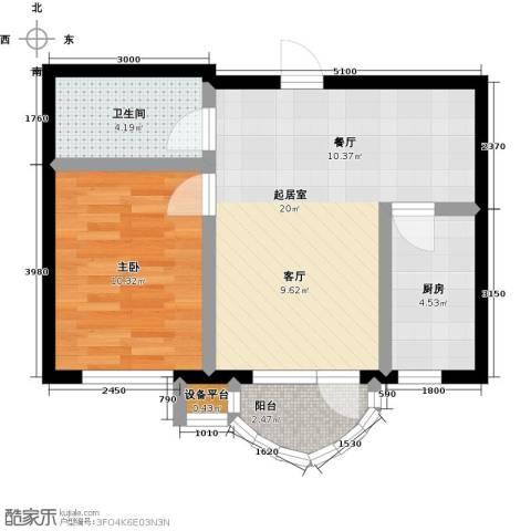 香洲心城三期1室0厅1卫1厨58.00㎡户型图