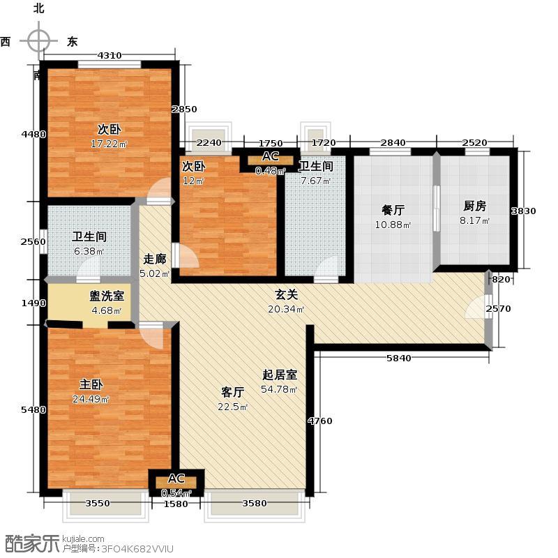 颐和星海150.25㎡B户型三室二厅二卫户型3室2厅2卫-T