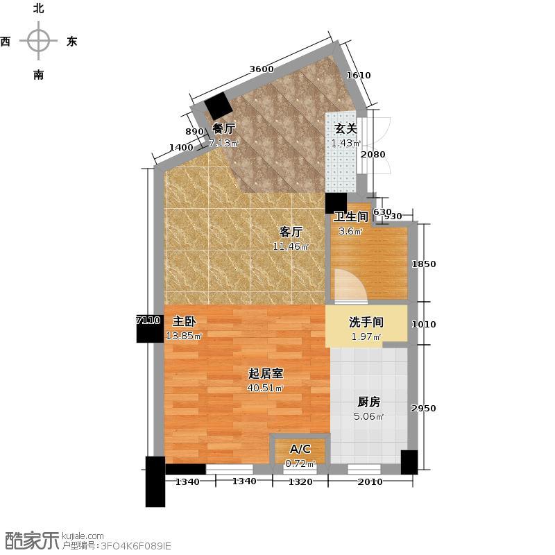 耕海广场65.37㎡一室二厅一卫户型1室2厅1卫X