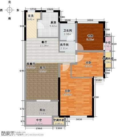 新城帝景3室1厅1卫1厨90.00㎡户型图
