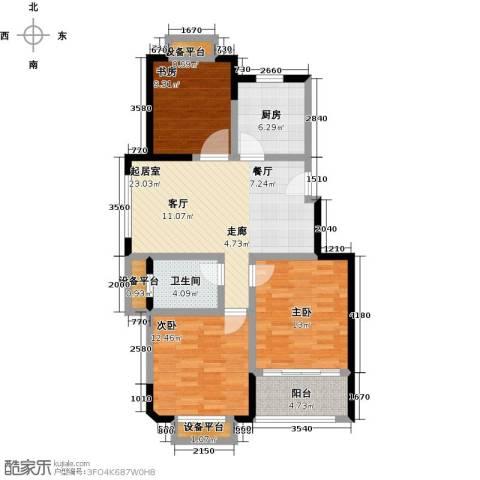 聚盛花园明日星城3室0厅1卫1厨89.00㎡户型图