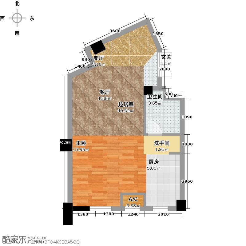 国民院子65.37㎡一室二厅一卫户型1室2厅1卫X