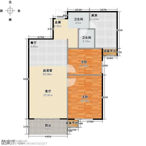哈西万达广场2室0厅1卫1厨104.82㎡户型图