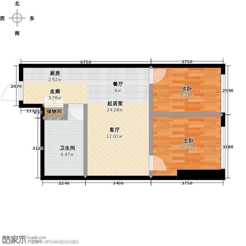 一方国际83.97㎡S6户型 两室两厅一卫 83.97平米户型2室2厅1卫