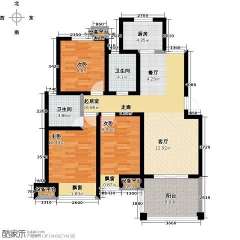 新城熙园3室0厅2卫1厨94.00㎡户型图