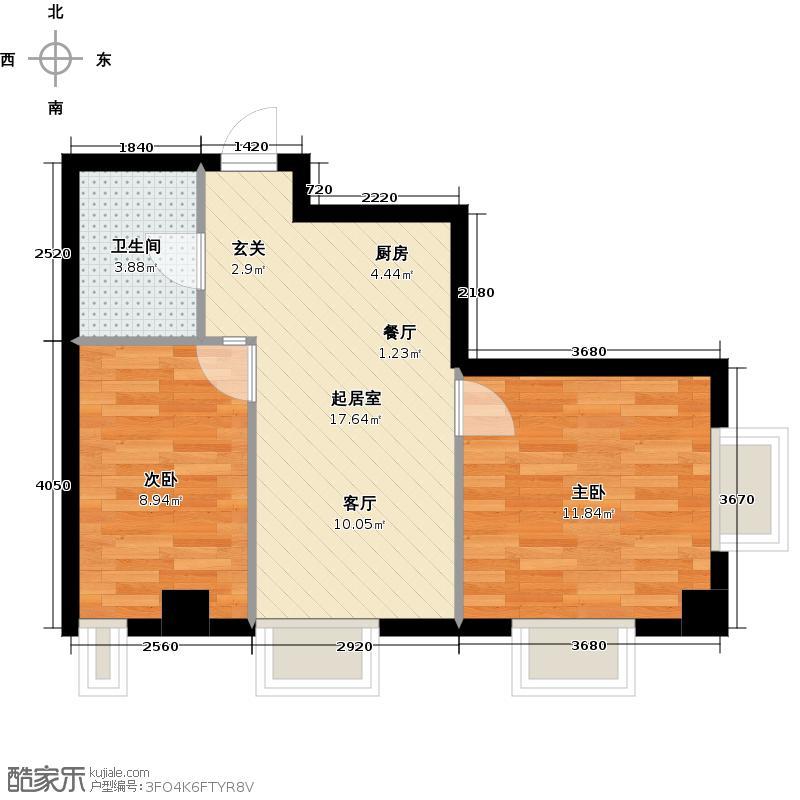 港湾国际70.00㎡G2户型2室2厅1卫1厨户型2室QQ