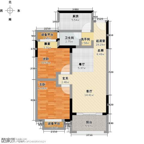 聚盛花园明日星城2室0厅1卫1厨83.00㎡户型图