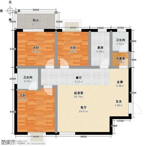 安诚御花苑3室0厅2卫1厨119.00㎡户型图