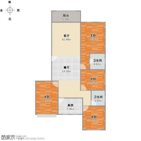 大华水韵华庭4室1厅2卫1厨153.00㎡户型图