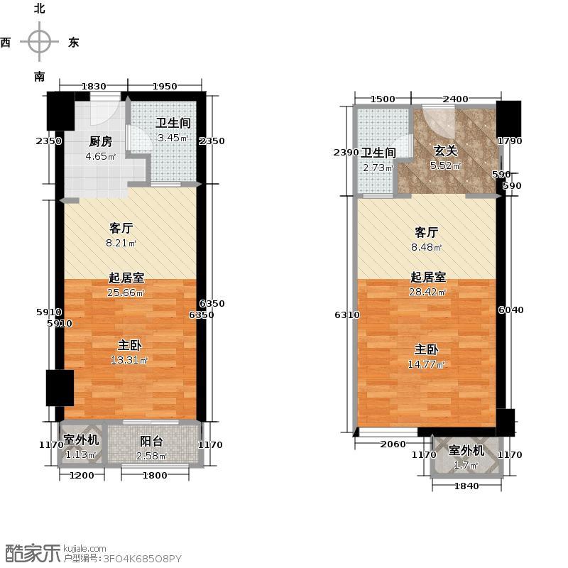 海顿公馆55.00㎡单身公寓户型