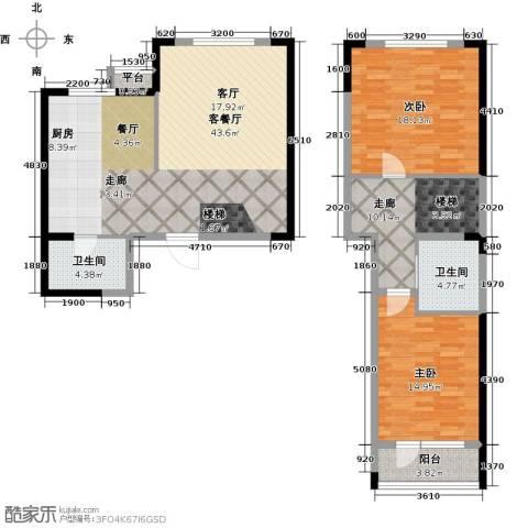 中央复兴里2室1厅2卫0厨110.00㎡户型图