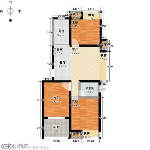 新城熙园3室0厅1卫1厨94.00㎡户型图