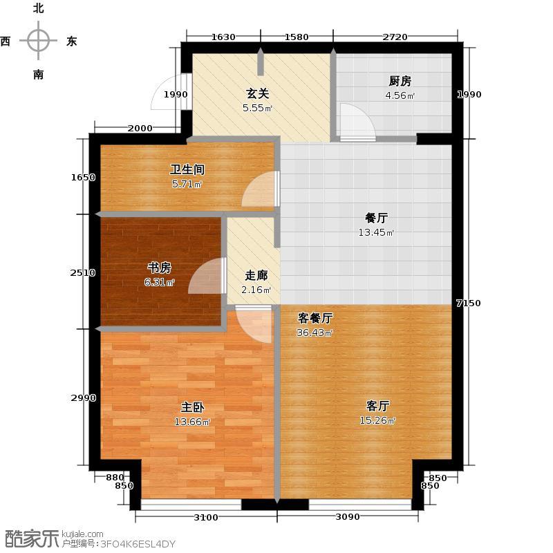 星海大观110.00㎡2室2厅1卫面积约110平米户型