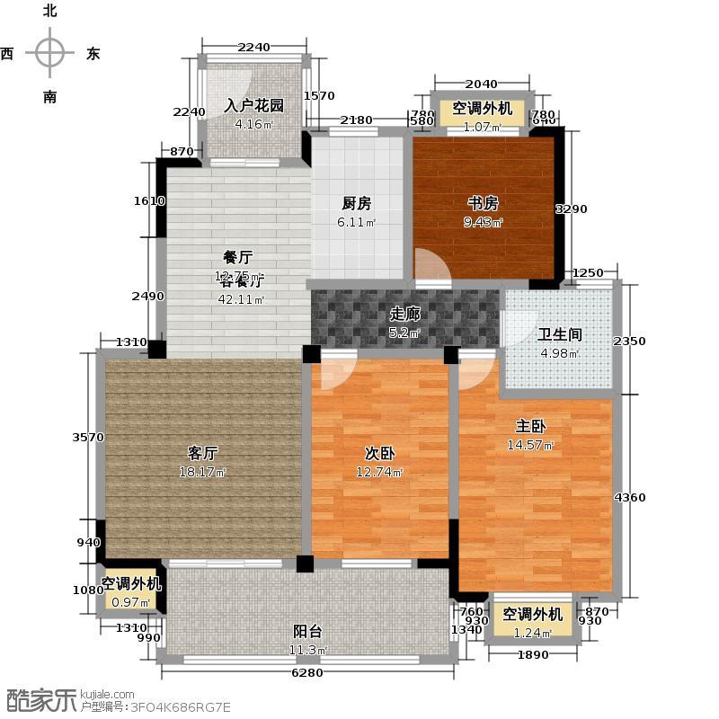 聚湖半岛117.00㎡聚湖半岛G户型 3室2厅1卫户型3室2厅1卫