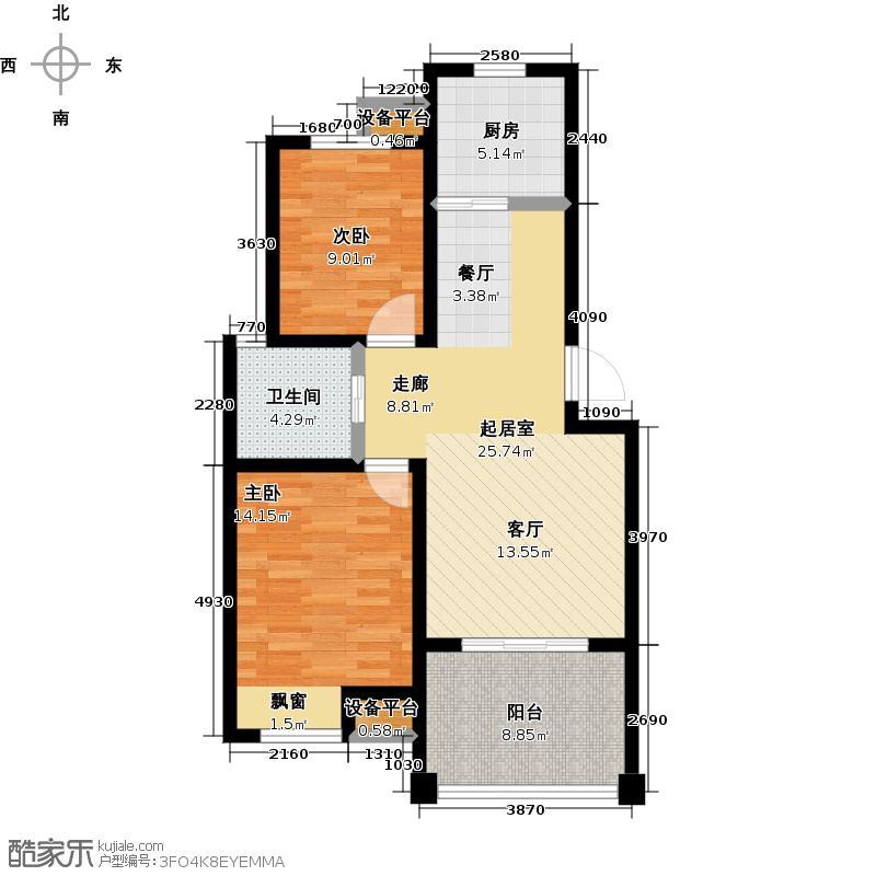 新城熙园80.00㎡二房二厅一卫-85平方米户型