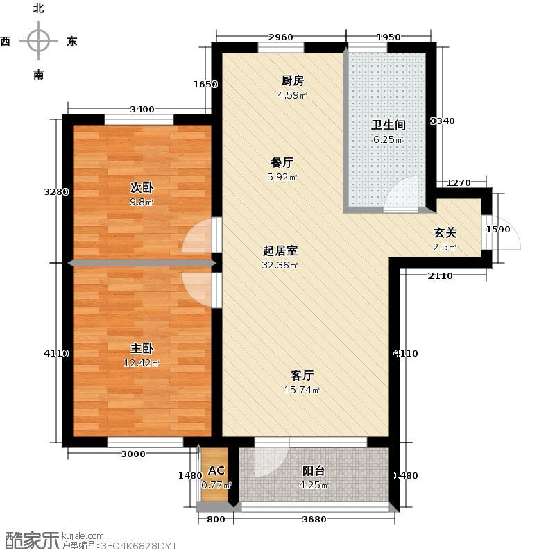 宇圣明珠75.28㎡C户型二室二厅一卫户型2室2厅1卫QQ