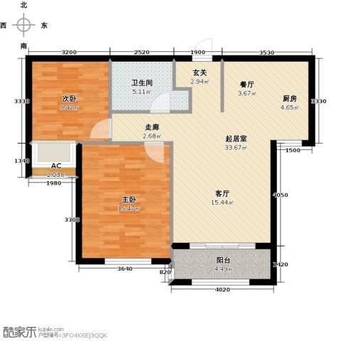 宇圣明珠2室0厅1卫0厨79.00㎡户型图