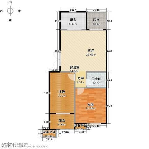 蔚海新天地2室0厅1卫1厨79.00㎡户型图