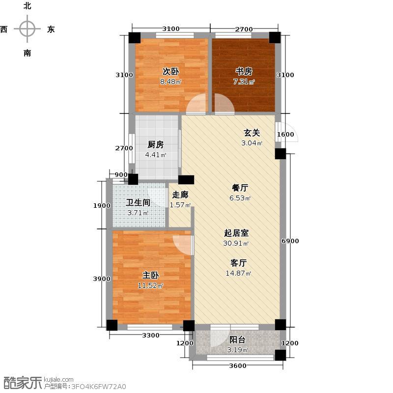 国民院子90.00㎡三室两厅一卫90平米户型图户型QQ