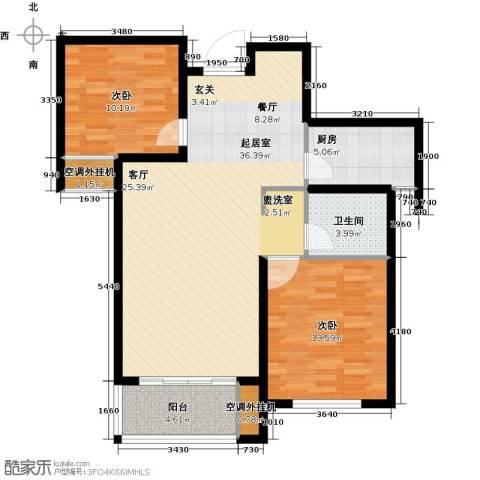 龙德花园2室0厅1卫1厨86.00㎡户型图