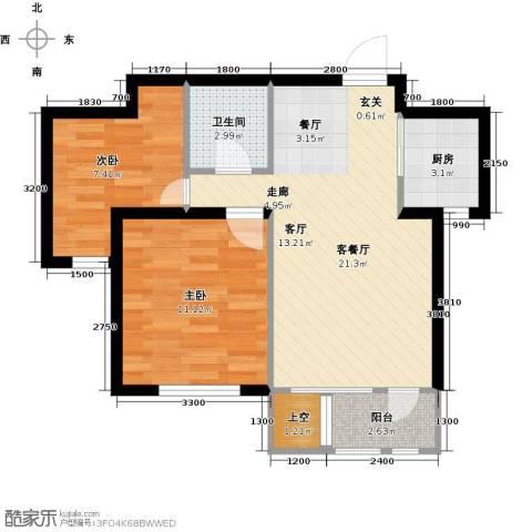华宇梧桐苑2室1厅1卫1厨74.00㎡户型图