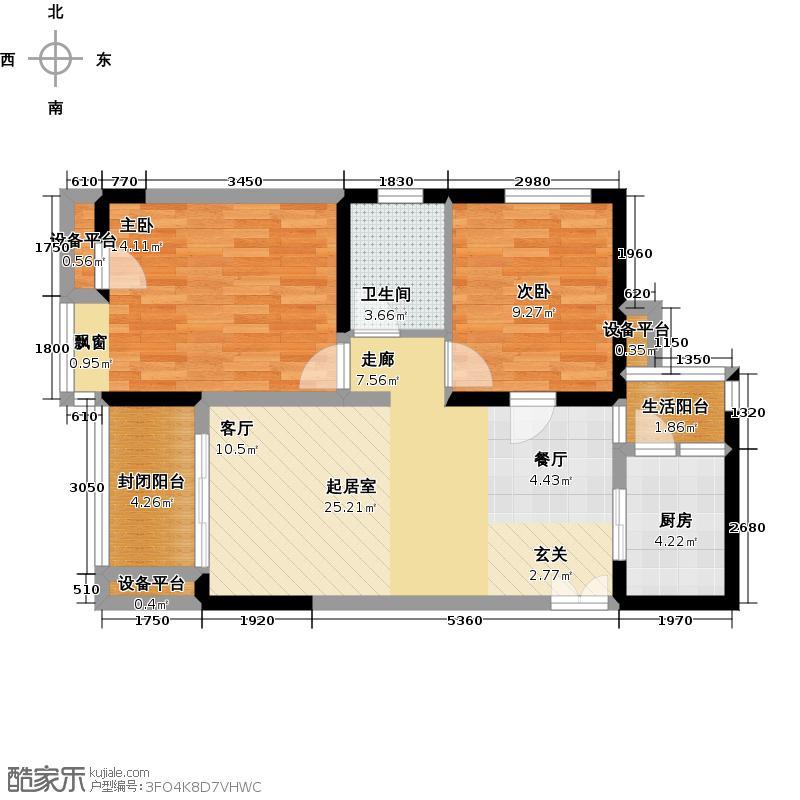 金科VISAR国际2号楼C赠送约463户型2室1卫1厨