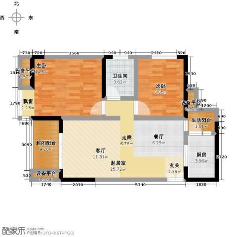 金科VISAR国际2室0厅1卫1厨68.00㎡户型图