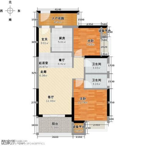 锦龙又一城2室0厅2卫1厨83.00㎡户型图