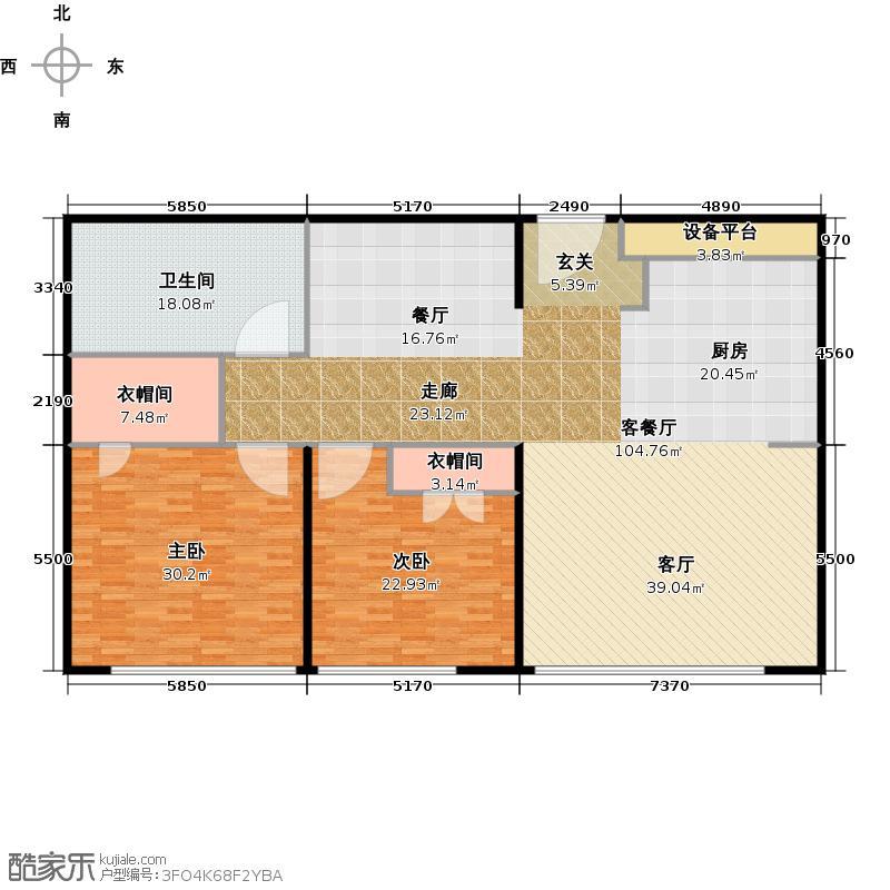 新地国际公寓203.00㎡M07户型2室2厅1卫