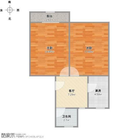 香山东北街坊2室1厅1卫1厨63.00㎡户型图