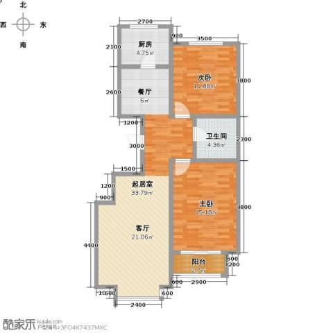 诚安逸品花园2室0厅1卫1厨102.00㎡户型图