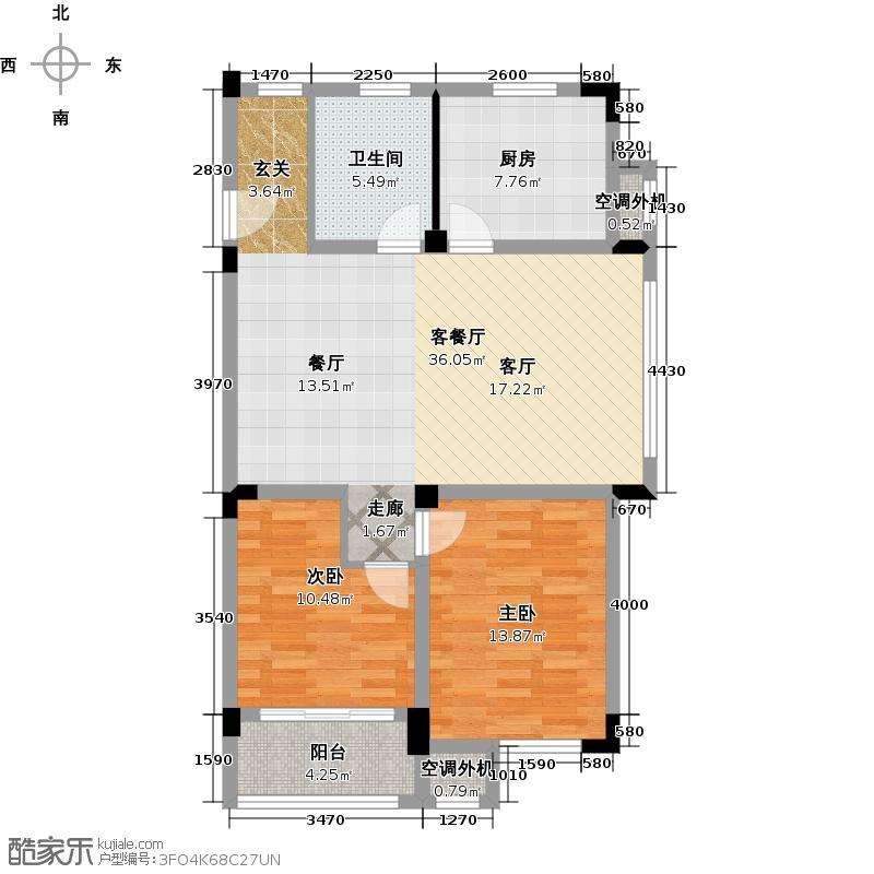 聚龙湾13#G型2室2厅1卫1厨90.24㎡户型