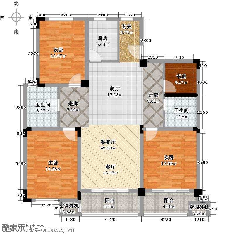 聚龙湾13#J型4室2厅2卫1厨130.46㎡户型
