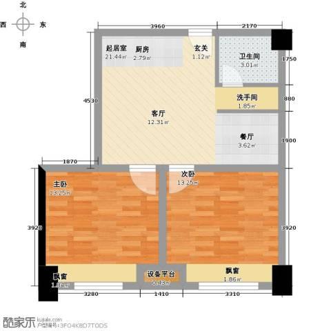 金科VISAR国际2室0厅1卫0厨72.00㎡户型图
