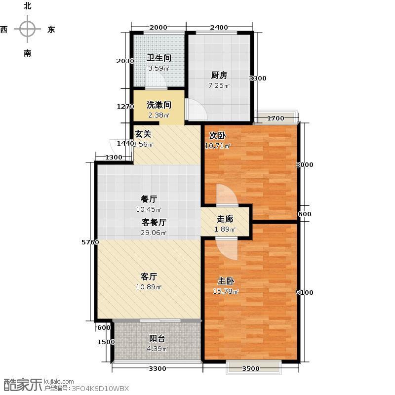 长城天一家园85.78㎡三室一厅一厨一卫户型