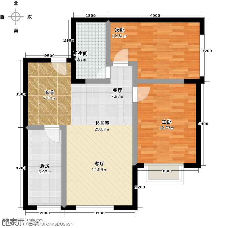 城市旋律94.00㎡94平米户型图户型2室2厅1卫