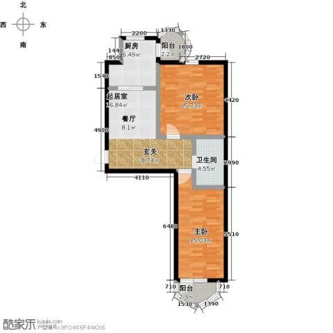 香洲心城三期2室0厅1卫1厨65.00㎡户型图