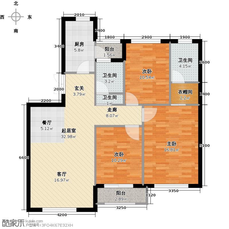 岭湾峰尚113.00㎡D3户型 3室2厅2卫户型