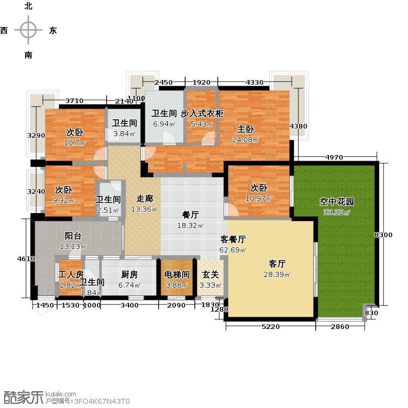 碧桂园凤凰城凤天苑4街8号1801单位南向户型4室2厅3卫