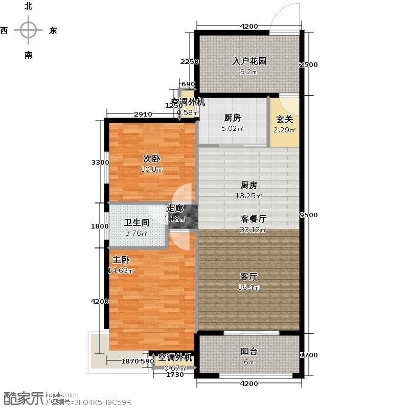 源馨苑99.51㎡B1户型 二房二厅一卫户型