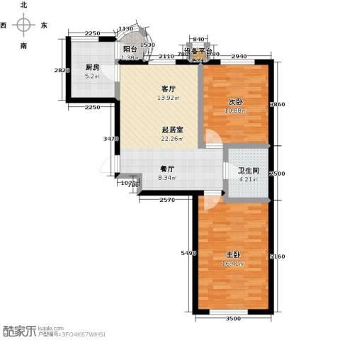 香洲心城三期2室0厅1卫1厨87.00㎡户型图