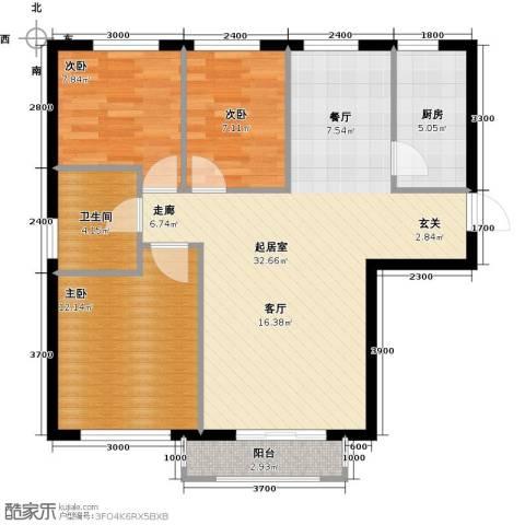 岭湾峰尚3室0厅1卫1厨95.00㎡户型图