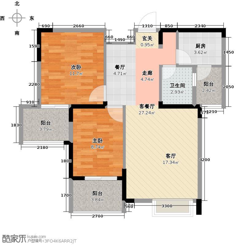 锦上城80.00㎡A3两室两厅单卫户型