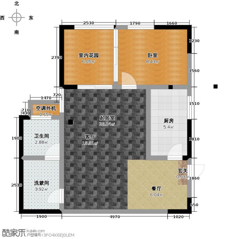 永通公馆65.36㎡F-1户型1室2厅1卫