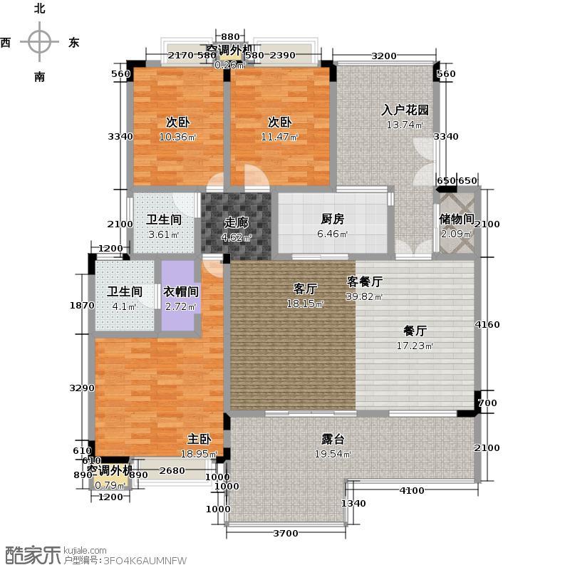 白兰丽舍136.00㎡G2户型 3室2厅2卫户型3室2厅2卫