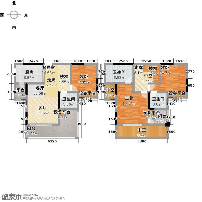 泰吉滨江一期C3、C4栋标准层4号房户型3室3卫1厨