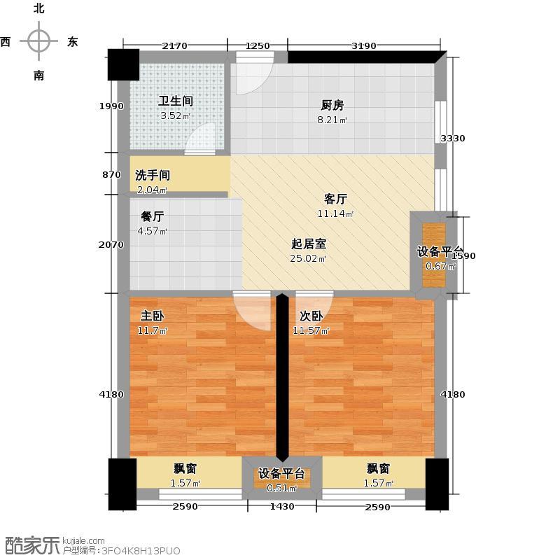 金科VISAR国际E座B型1/6/13号房户型2室1卫